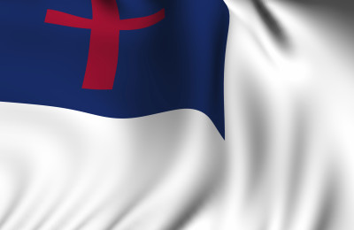 Rendering of a waving Christian flag with accurate colors and design and a fabric texture.