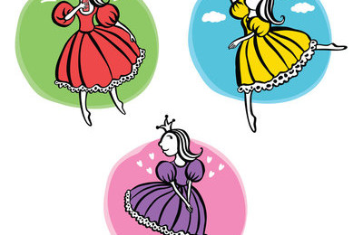 Three little princesses Isolated pictures with three little girls