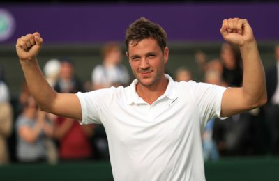 Britain's Marcus Willis, the world number 772, celebrates his victory over 54th-ranked Lithuania's Ricardas Berankis 6-3 6-3 6-4 on day one of the Wimbledon Tennis Championships in London, Monday, June 27, 2016. (Adam Davy/PA via AP) UNITED KINGDOM OUT  NO SALES NO ARCHIVE ORG XMIT: LON833