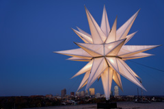 Assembly of the Moravian star on top of North Tower, Wake Forest Baptisit Medical Center, Engineering crew puts the star together
